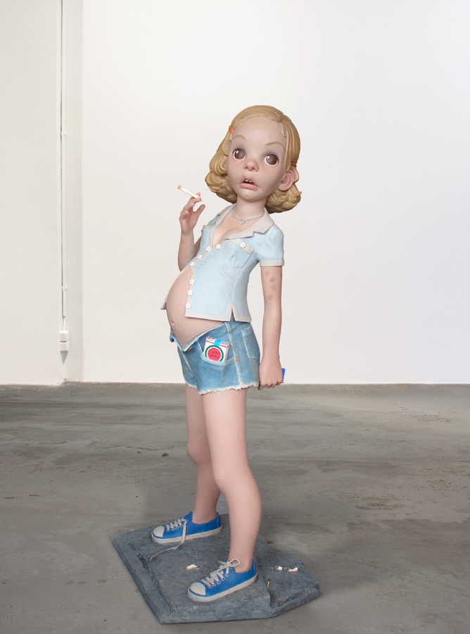 Aileen Wuornos as pregnant teenager sculpture Harma Heikens