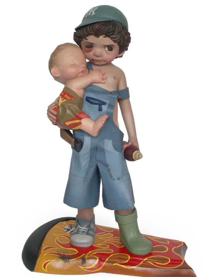 young boy wounded armed sculpture harma heikens