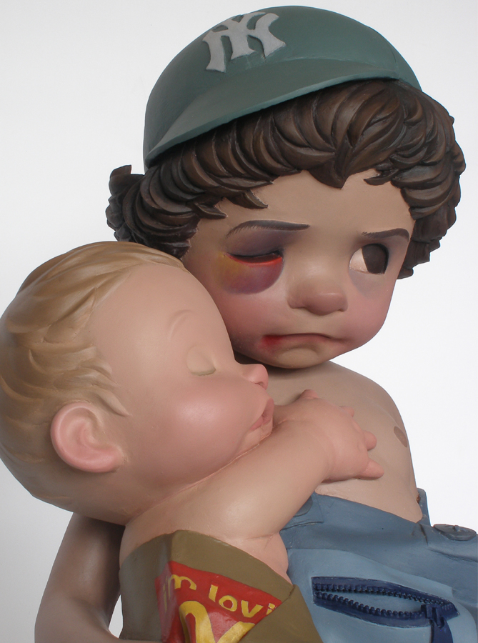young boy wounded armed sculpture harma heikens detail
