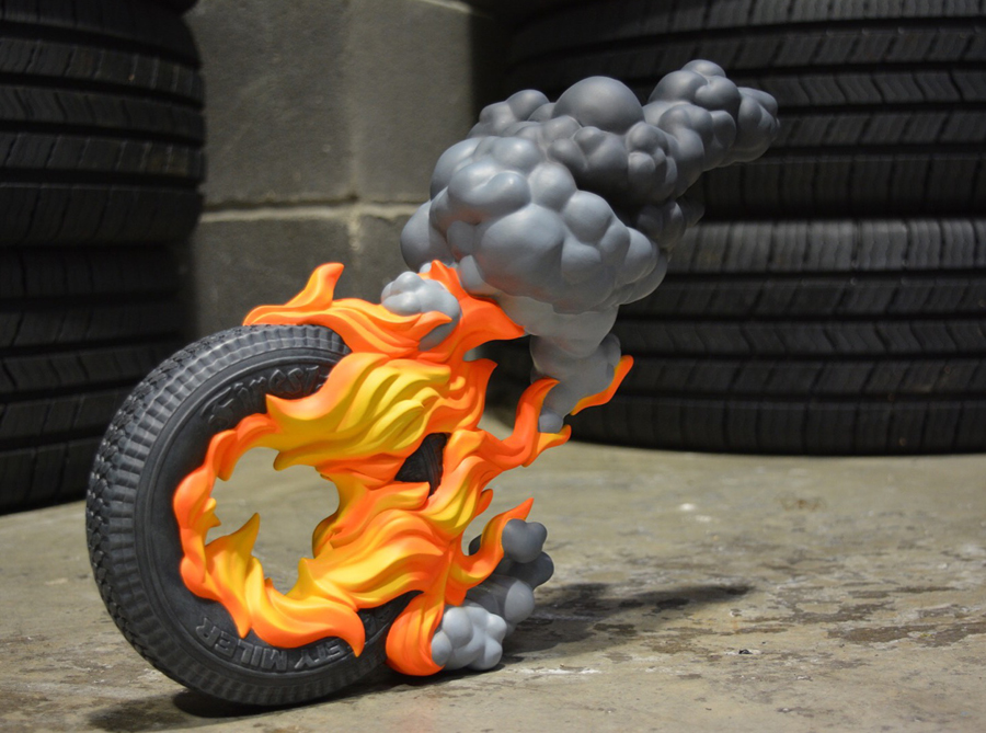 burning tire sculpture harma heikens