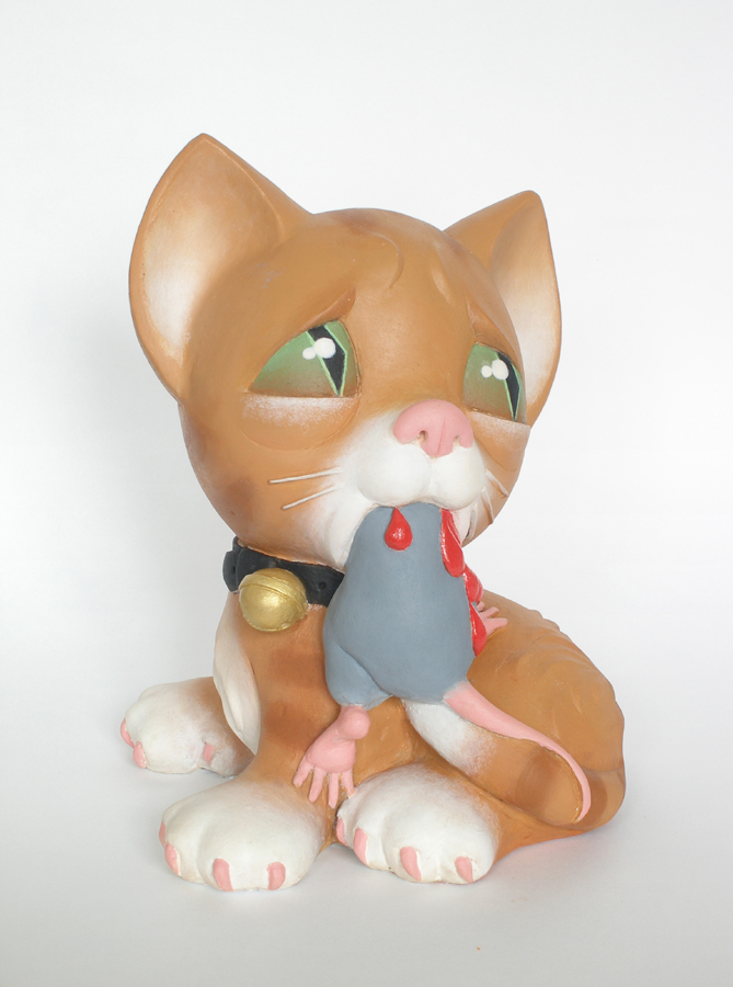 cat eating mouse sculpture harma heikens