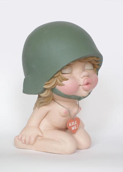 big eyes girl soldier sculpture harma heikens