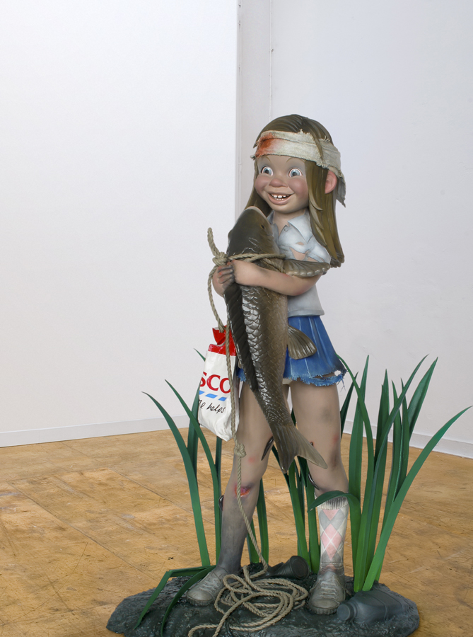 wounded girl with fish sculpture harma heikens